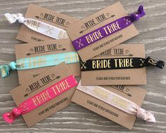 ⭐️️ Bride Tribe ⭐️️ Hair elastics / wristbands / bracelets Perfect little accessory for a hen party or bachelorette, lovely idea to have the bride tribe all in one colour and the bride in another. Card is standard business card sized and reads - Bride Tribe at the top - to have and to hold