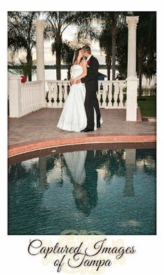 The pool made a beautiful reflection during the sunset portraits after their outdoor wedding at Town Manor in Auburndale, FL - Captured Images Blog