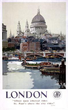 #London! Vintage UK Railway Poster ~ http://VIPsAccess.com/luxury-hotels-london.html