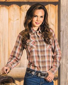 Wrangler Women's Peach and Brown Lurex Plaid Long Sleeve Western Shirt