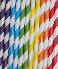 60 RAINBOW striped Paper Straws by PartyHQ on Etsy, $20.00