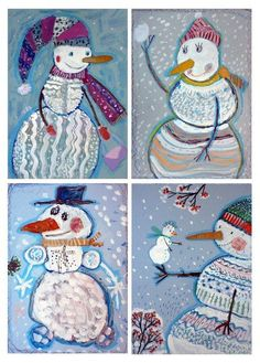 I love the patterns and textures on these snowmen!