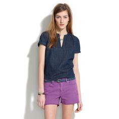 Madewell Purple Denim Cutoff Shorts Madewell Purple Denim Cutoff Shorts. Color: Lilac or Lavender. Like new, gently used! No stains. Manufactured with fade on thighs. Madewell Shorts Jean Shorts