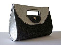 Handtasche Filz PETRA schwarz / weiß – klassisch & schlichtes Design