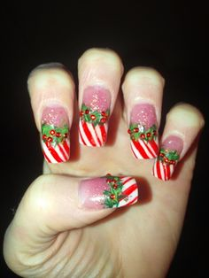CHRISTMAS Candy Cane Wreath by vchristie - Nail Art Gallery nailartgallery.nailsmag.com by Nails Magazine www.nailsmag.com #nailart