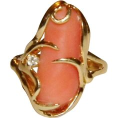 Vintage 14k YG Angel Skin Coral Diamond Ring, Size 6