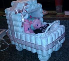 A diaper baby carriage