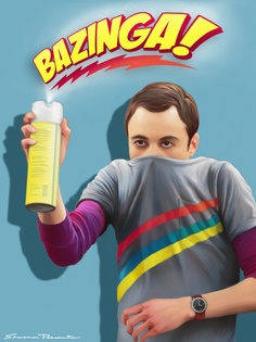 BAZINGA! Jim Parsons as Dr. Sheldon Cooper from The Big Bang Theory - Illustration by Shannon Posedenti