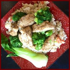 Skinny Recipes For the Fitness Fanatic: Garlic Pepper Chicken with Greens Over Fried Rice