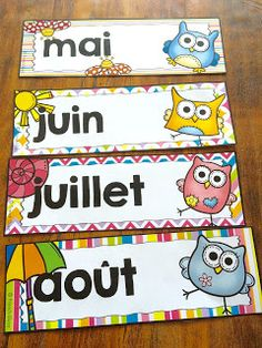 Nouveau décor pour la classe : les hiboux ! Les mois de l'année. Owl Theme Classroom, Classroom Activities, Teaching Aids, Teaching Tools, School Lessons, School Hacks, Classroom Management Techniques, French For Beginners, French Classroom