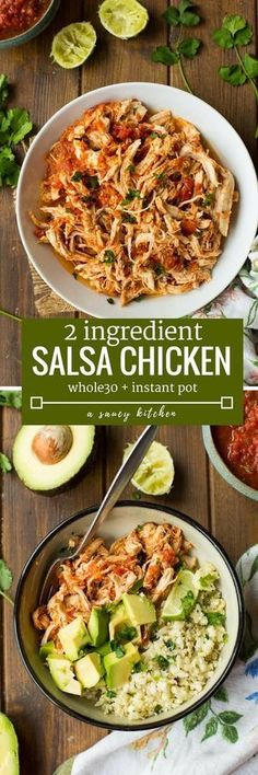 2 ingredient Salsa Chicken made in the instant pot - perfect for adding to tacos, salads and burrito bowls! | Whole30 + Gluten Free + Paleo