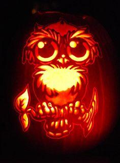 Owl on branch halloween pinterest pumpkins carving for Pumpkin carving ideas owls