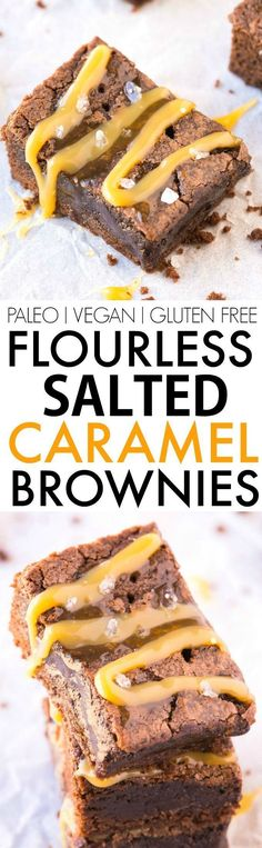 Flourless Salted Caramel Fudge Brownies (V, GF, Paleo)- Healthier flourless fudge brownies using just 6 ingredients and with a clean eating caramel sauce! BETTER than any boxed mix and NO flour or butter! The perfect dessert, holiday treat or snack! {vegan, gluten free, paleo recipe}- http://thebigmansworld.com
