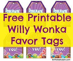 Use these free printable Willy Wonka favor tags to make complimentary tags for Willy Wonka party favors you want to give out to your guests at your party. Willy Wonka, Party Printables, Free Printables, Chocolate Party, Golden Birthday, Party Background, Music Party, Super Party, Chocolate Factory