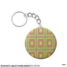Geometric square trendy pattern basic round button keychain
