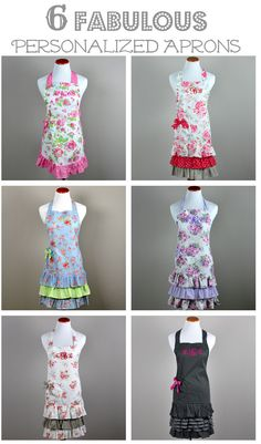 I love these vintage inspired retro style aprons.  And you can personalize it with your name or a custom monogram!