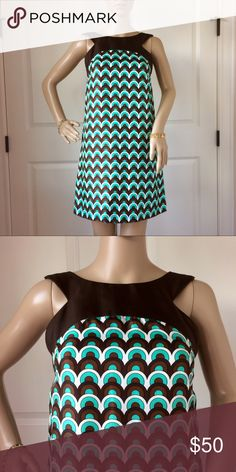 Milly Silk Geo Print Dress Gorgeous original Milly dress with an Aqua/brown geo print in EUC. Details and measurements will be posted today Milly Dresses