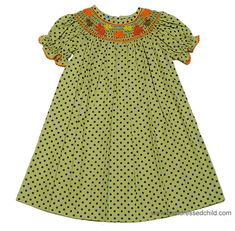8734a40d6f98 Anavini Girls Fall Festival Bishop Dress - Green   Brown Dots with Smocked  Autumn Leaves