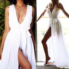 Beach Dress Summer Swimwear Cover Ups Long Maxi Bohemia Wrap Dress Vestidos De Playa White Red Bathing Suit