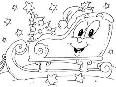 Christmas Sleigh coloring page - Coloring Pages 4 U Unique Christmas Cards, Christmas Messages, Santa Christmas, Christmas Colors, Cartoon Coloring Pages, Coloring Book Pages, Coloring For Kids, Colouring, Free Christmas Coloring Pages