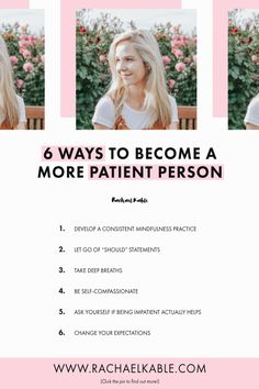 Here are 6 simple tips to help you become a more patient person. Be sure to check out tip number 6 so you can try it out for yourself:) Mindfulness Coach, Mindfulness Practice, Psychology Books, Psychology Facts, Mindful Self Compassion, Mindfulness For Beginners, Mindfulness Based Stress Reduction, Patient Person, Habits Of Successful People