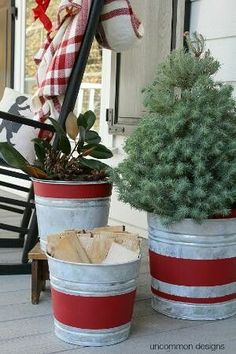 Create beautiful Vintage Stripe Aged Galvanized Buckets via Uncommon Designs for a rustic holiday decor style. : Create beautiful Vintage Stripe Aged Galvanized Buckets via Uncommon Designs for a rustic holiday decor style. Farmhouse Christmas Decor, Primitive Christmas, Country Christmas, Christmas Home, Vintage Christmas, Primitive Crafts, Merry Christmas, White Christmas, Modern Christmas
