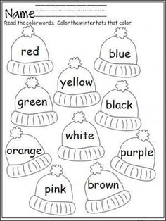 free mitten color word practice great for pre k and kindergarten - Free Color Word Worksheets