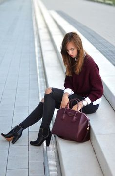 Outstanding Double Burgundy Casual Style Outfit Fall Winter Look:
