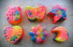 PRE ORDER ONLY FOR RAINBOW COLORED SOAPS (GREED IS READY TO GO NOW).  READY TO SHIP JANUARY 18TH. Fun mini soaps for the kids! Fruit Loops fragrance mini soaps.   You will get 3 different shapes from the ones pictured. (I choose)    Handmade Soap made with coconut oil, olive oil, palm oil, aloe...