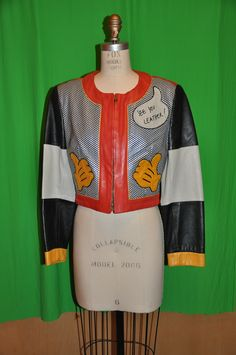 """Moschino """"Mickey Mouse"""" leather jacket from the '80s"""