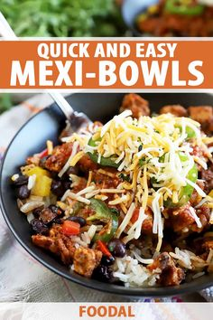 Mexi-bowls are loaded with protein, rice, beans, peppers, and a variety of toppings to keep things interesting every time you make them. The fresh ingredients and sensational homemade seasoning mix in this recipe will convince you that staying in is the perfect dinner option. #burritobowl #quickdinnerideas #foodal Entree Recipes, Steak Recipes, Mexican Food Recipes, Ethnic Recipes, Easy Recipes, Mexican Dishes, Turkey Recipes, Chicken Recipes, Vegan Recipes