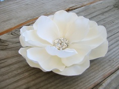 Ivory Flower Fascinator Hair Clip Magnolia by EnchantedlyYours, $14.99