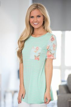 Classic Stripes Flower Print Tee for Women - Tons of cute shirts here for cheap Kids Outfits, Cute Outfits, Latest Fashion For Women, Womens Fashion, Matching Family Outfits, Tees For Women, Pink Lily, Baby Outfits Newborn, Covet Fashion