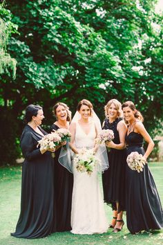black floor-length bridesmaids' dresses // photo by TeneilKableBlog.com