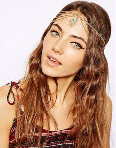 Fashion Rhinestone Bead Head Chain Elastic Flower Headband Head Piece Jewelry
