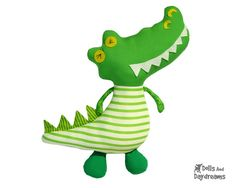 Crocodile Sewing Pattern PDF Download DIY Alligator Plush Stuffed Toy Tutorial