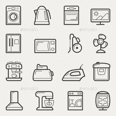 Home Appliances Line Icons — Vector EPS #oven #microwave • Available here → https://graphicriver.net/item/home-appliances-line-icons/10805350?ref=pxcr