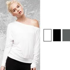 Flowy off shoulder long sleeve T-shirt - for the fun, fashionable you.