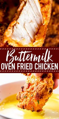 The BEST Crispy Buttermilk Oven Fried Chicken: You won't be disappointed by this recipe! Made using a simple technique, this chicken gets so crispy in the oven - it's hard to believe it isn't deep fried! It's easy to make and way less messy than the tradi Buttermilk Oven Fried Chicken, Buttermilk Recipes, Crispy Fried Chicken, Oven Fried Chicken Tenders, Fried Chicken Strips, Deep Fried Chicken Batter, Fried Chicken Boneless, Fried Chicken Side Dishes, Pan Fried Chicken Thighs