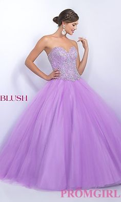 Long Strapless Blush Quinceanera Dress at PromGirl.com