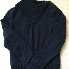 Navy Blue Sweatshirt elbow patches, gently used Navy Blue Sweatshirt with cute elbow patches & button up turtleneck style. Gently used & loved, mint condition (meaning a little fading from wash). small. Old navy.  56% cotton 30% polyester 6% spandex Old Navy Tops Sweatshirts & Hoodies