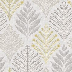 Rowan from the Grandeco Gold collection is a textured floral design in grey, and yellow with a subtle glitter finish