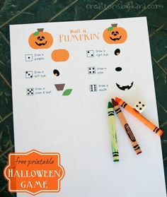 This Roll a Pumpkin Game is perfect for Halloween class parties, or to just play at home with your family! #freeprintable