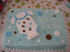 """Boy Baby Shower Cake - Thanks for ladyonzlake for the inspiration on this """"onsie"""" baby shower cake! Yellow cake, buttercream icing, homemade fondant embelishments."""