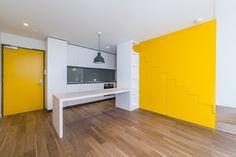 Watermark Apartments- Designed using Egger 50mm Eurolight in Premium white and Lakeland acacia, cabinetry in 16mm Premium white board