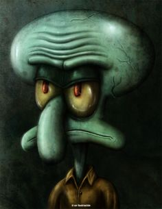 Squidward Tentacles by Fluorescentteddy on DeviantArt Squidward Painting, Squidward Art, Spongebob Painting, Scary Wallpaper, Purple Wallpaper Iphone, Classic Cartoon Characters, Cartoon Art, Painted Trash Cans, Squidward Tentacles