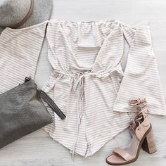 Beige Stripe Playsuit | #SaboSkirt.com Pretty much never taking this off. Like ever though..