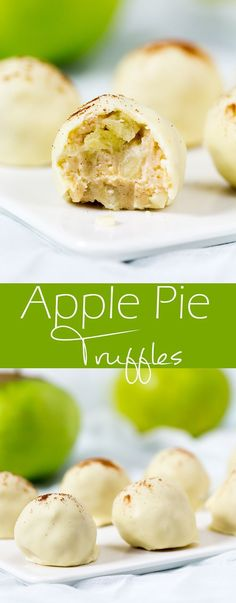 apple pie truffles really do taste like apple pie! So delicious, and no baking required!These apple pie truffles really do taste like apple pie! So delicious, and no baking required! Candy Recipes, Sweet Recipes, Baking Recipes, Dessert Recipes, Apple Recipes No Bake, Baking Desserts, Party Desserts, Fudge, Just Desserts