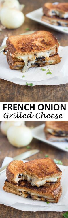 French Onion Grilled Cheese. All of the flavors of French Onion soup you love stuffed into a grilled cheese sandwich. Made with caramelized onions, Swiss cheese, and parsley. | chefsavvy.com #recipe #sandwich #onion #french