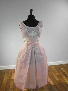 Vintage blush pink prom dress in swiss dot with bow and lace details, so darling - RedLabelVintage